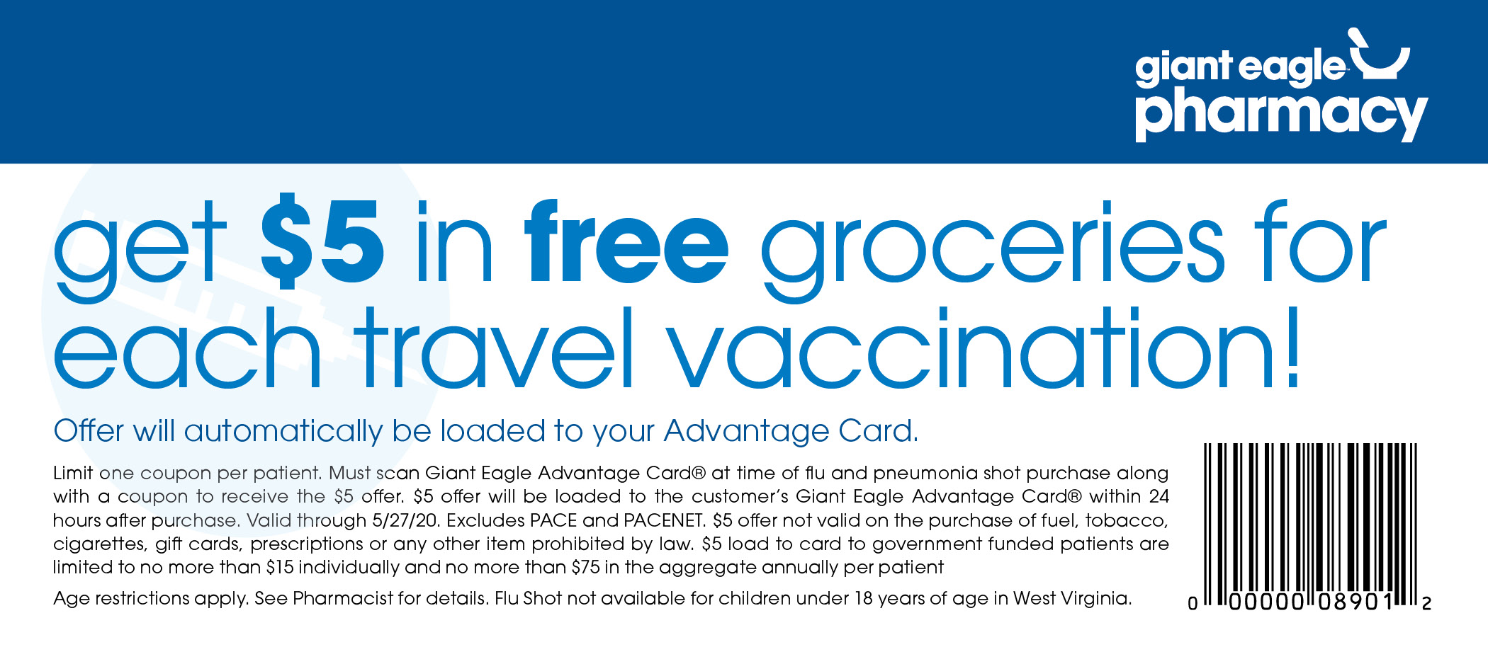 $5 in Free Groceries for Travel Vaccines