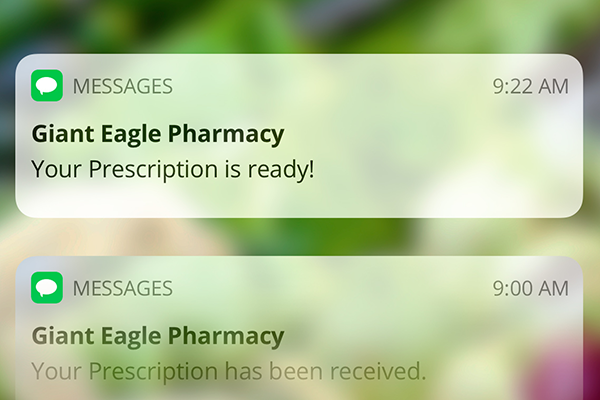 Text messages from the Giant Eagle Pharmacy on an iPhone