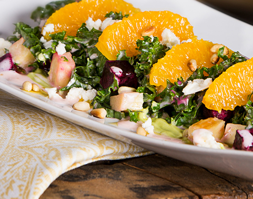 Earthy Vegetable & Kale Salad with Strawberry Vinaigrette