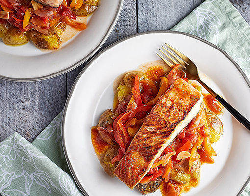 Salmon with Pepper Stew