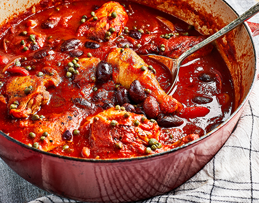 Chicken Braised with Tomato and Olives