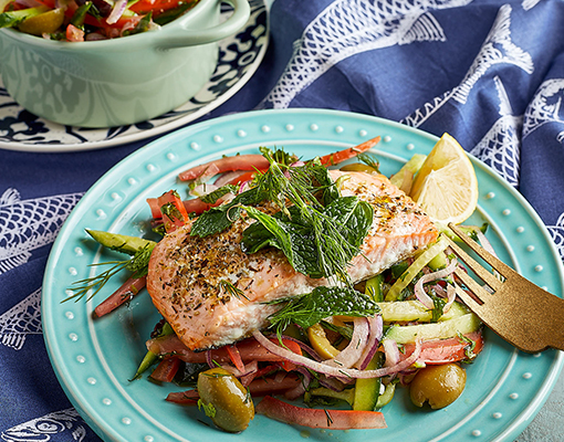 Salmon with Greek-style Cucumber Slaw