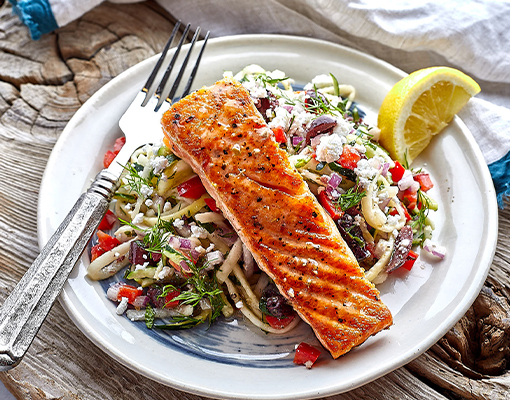 Salmon with Greek Zoodles