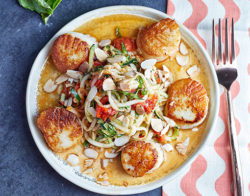 Scallops with Zoodles